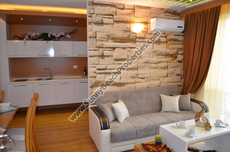 Luxury furnished 1-bedroom apartment for sale in Sweet Homes 2 in absolutely tranquil area in the central part of Sunny beach, Bulgaria
