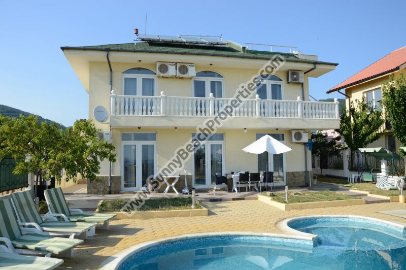Sea § mountain view furnished 4-bedroom/4-bathroom house for sale with private pool in tranquility just 1000 meters from white sandy beach in St. Vlas.