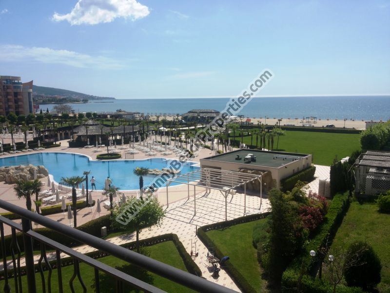 Beachfront stunning sea view fully furnished 2-bedroom apartment for sale in 4**** Majestic on the beach of Sunny beach, Bulgaria