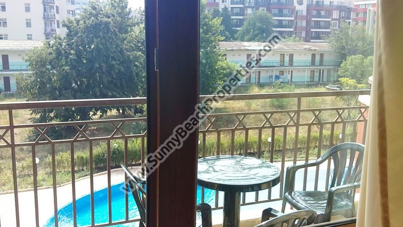487€/m2  Pool view furnished 1bedroom/2bathroom apartment  for sale in Ashton Hall downtown Sunny beach, 150m. from the beach