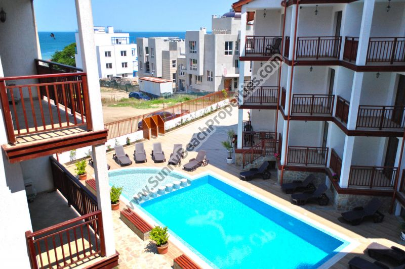 Pool and partial Sea view studio for sale in complex Mojito Club 70 m. from the beach in Lozenets, Bulgaria